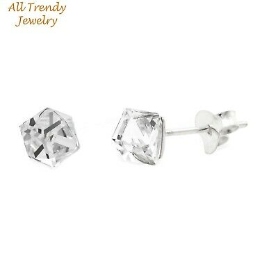 4mm Cube Shape Swarovski Crystal Studs Solid 925 Sterling Silver Earrings 4mm Square Shaped Earring