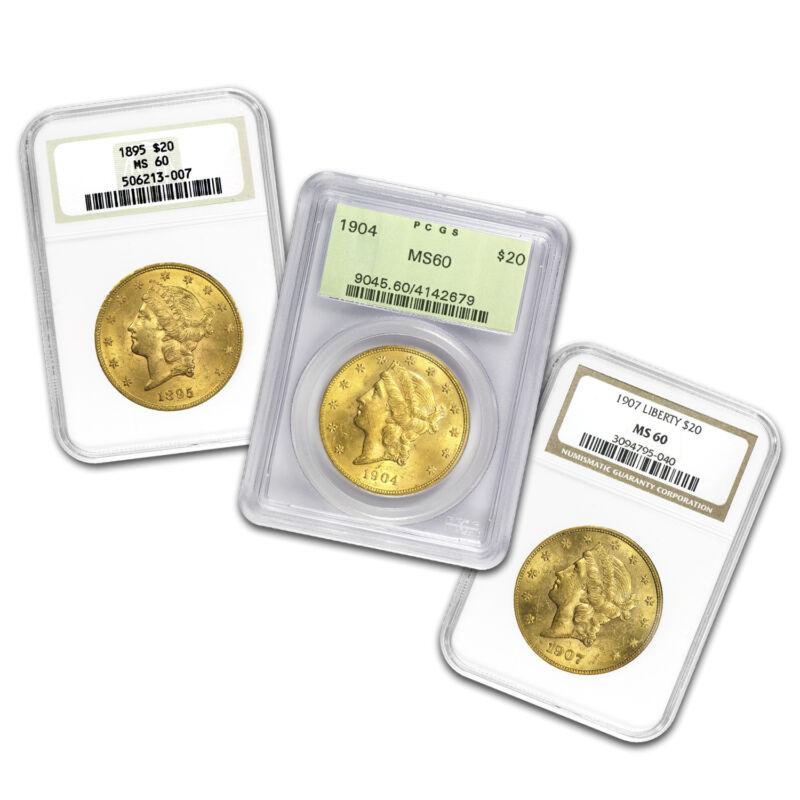 $20 Liberty Gold Double Eagle Ms-60 Pcgs/ngc (random) - Sku #68863