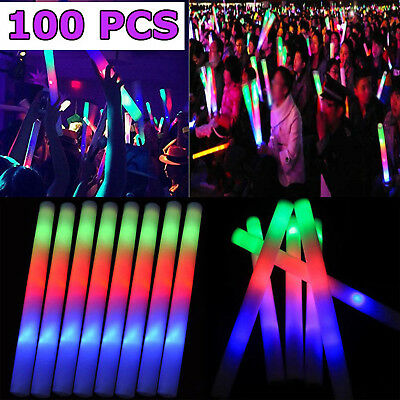 100 Light Up LED Foam Glow Sticks Flashing Wands Rally Rave Batons Party Concert - Light Sticks Led