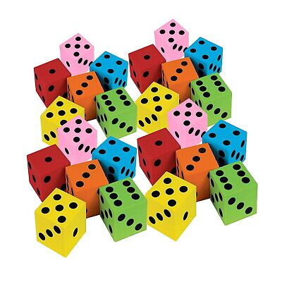 Foam Dice Set 12 Pack Of Assorted Colorful Square Blocks Educational Toys Math