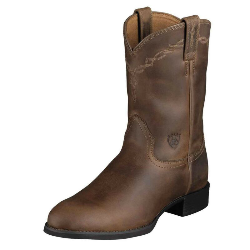 Ariat, Mens, Heritage, Pull, On, Roper, Cowboy, Boot, Distressed, Brown, 10002284, 35525
