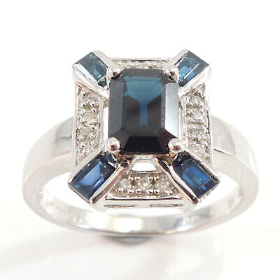 9 Carat White Gold Vintage Styled Sapphire & Diamond Ring