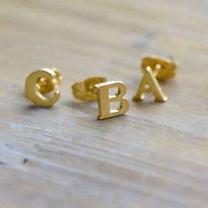 1 Single Letter Alphabet Earring Stud Initial Earrings Gold 6mm Post