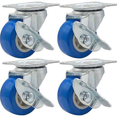 Lot Of 4 1.5 Low Profile Caster Wheels Rubber Swivel Caster W Side Brake Blue