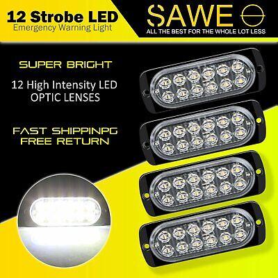 4x White 12 LED Car Truck Emergency Beacon Warning Hazard Flash Strobe Light