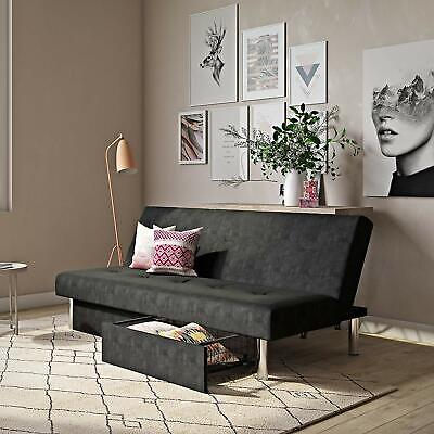 CONVERTIBLE FUTON COUCH Sofa Bed Sleeper Microfiber Living Room Storage BLACK Black Microfiber Couch