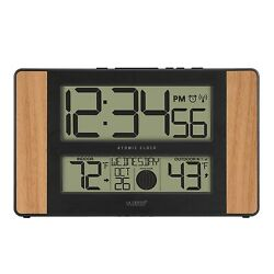 Atomic Digital Clock Wall Hanging Large 2.125 Inch Time Digits for Easy Read Oak
