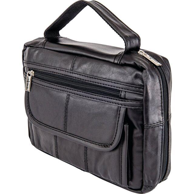 Black Genuine Leather Bible Cover, Medium Zipper Church Book Carry Protect Case