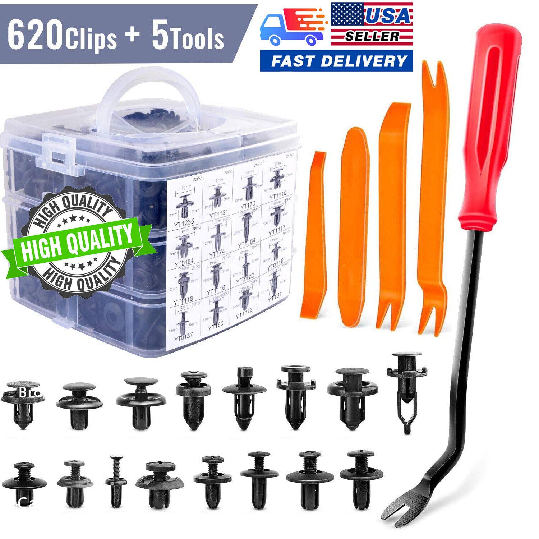 625 Pcs Car Retainer Clips Auto Fasteners Push Trim Clips Pin Rivet Bumper Kit