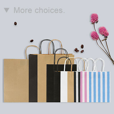 Shopping Gift Bags Small Brown Blue Red Kraft Paper Bags with Handle 25-100PCS - Brown Paper Bags With Handles