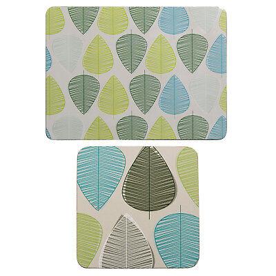 Premier Housewares 8pc Green Leaf Design Cork Dining Coaster And Placemat Set