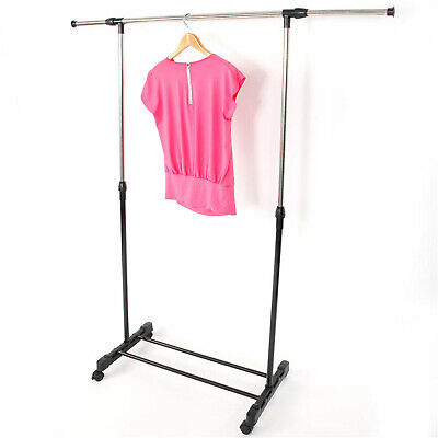 Us Durable Rolling Portable Adjustable Clothes Rack Rail Hanging Garment Store
