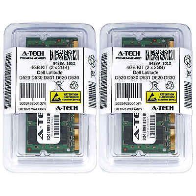 4GB 2x 2GB Laptop Memory RAM for DELL LATITUDE D520 D530 D531 D620 D630 D630 XFR