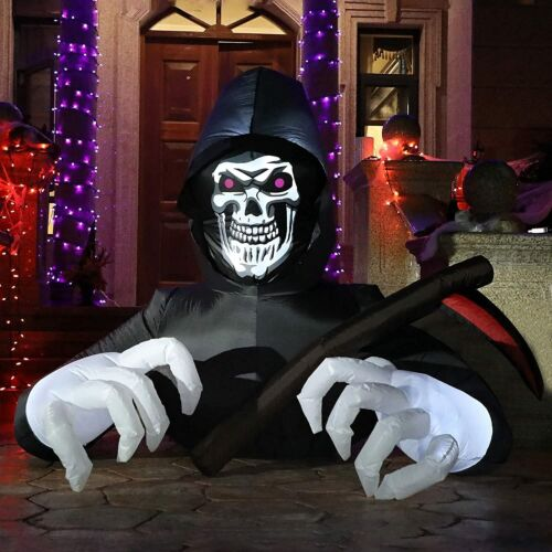 5Ft Halloween Inflatable Decoration Grim Reaper Spooky Ghost with LED Lights NEW