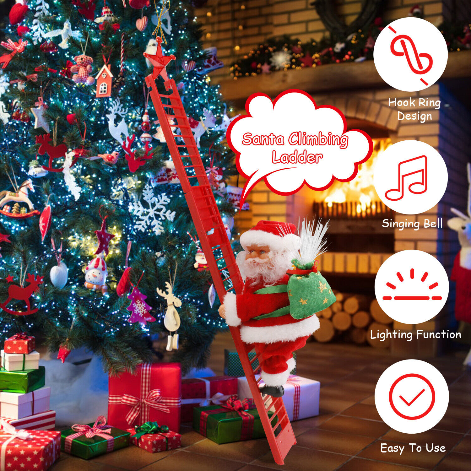 Electric Climbing Ladder Music Santa Claus Tree Hanging Christmas Doll Decor us