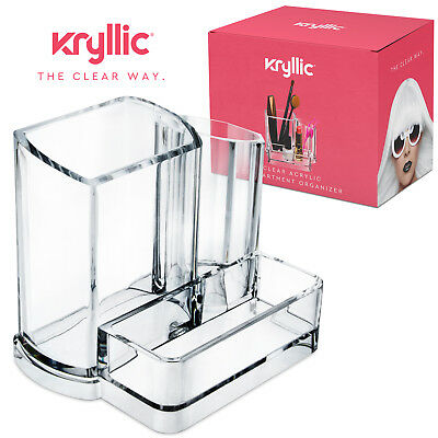 Clear Acrylic Makeup Organizer 3 Compartment Brushes Pens Office Supplies Holder