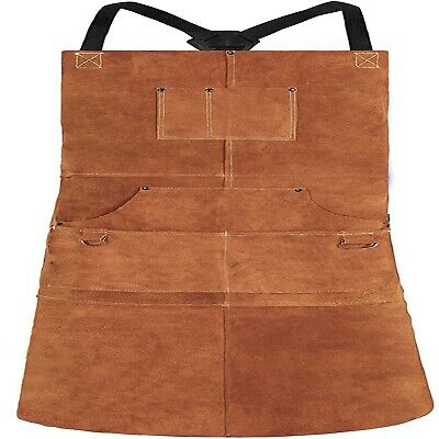 Leather Welding Apron - Heat Flame-resistant Heavy Duty Work Apron With 6 Pock