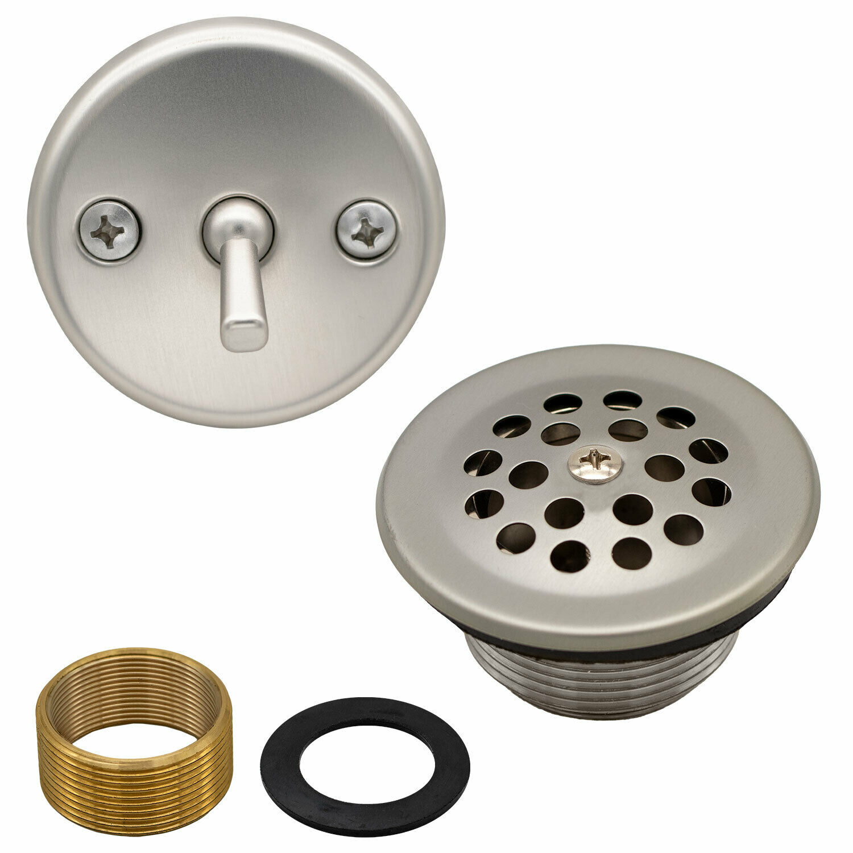 Bathtub Trip Lever Bath Drain Replacement Overflow Cover Kit, Satin Nickel Bath