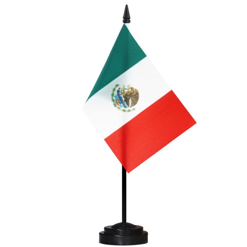 ANLEY Mexico Deluxe Desk Flag Set - 6 x 4 Inch Miniature Mexican Desktop Flag