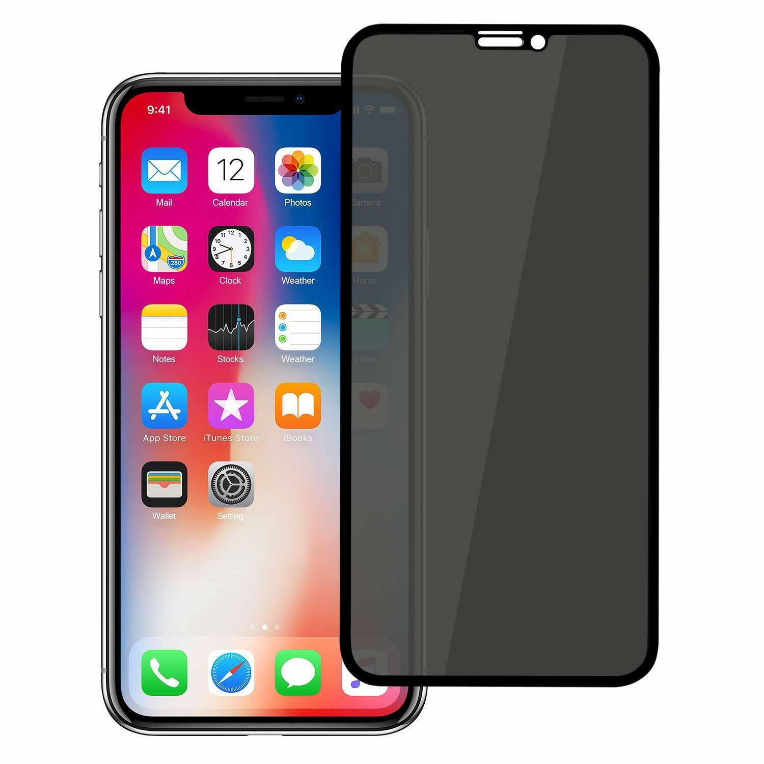 10D Anti Spy Privacy Tempered Glass Screen Protector For Apple iPhone X