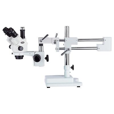 Amscope 3.5x-90x Simul-focal Stereo Lockable Zoom Microscope Dual Arm Boom Stand