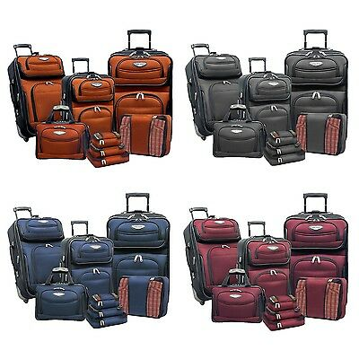 Amsterdam 8-Piece Light Expandable Rolling Luggage Suitcase Tote Bag Travel -