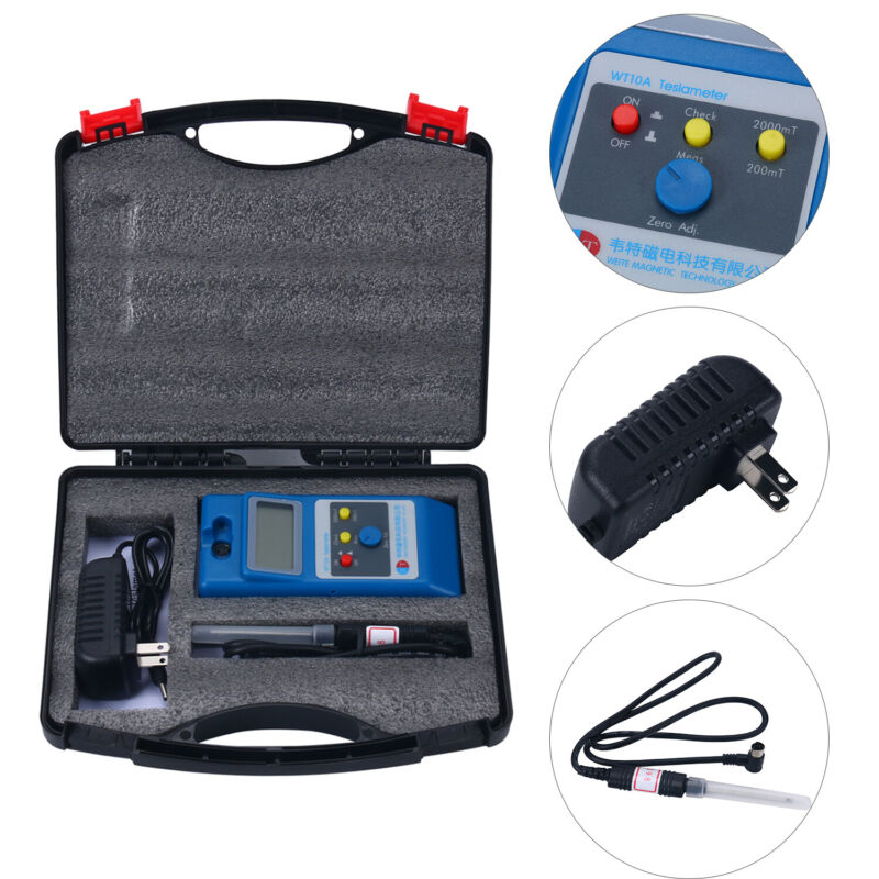 US Stock WT10A LCD Tesla Meter Gaussmeter Surface Magnetic Field Tester