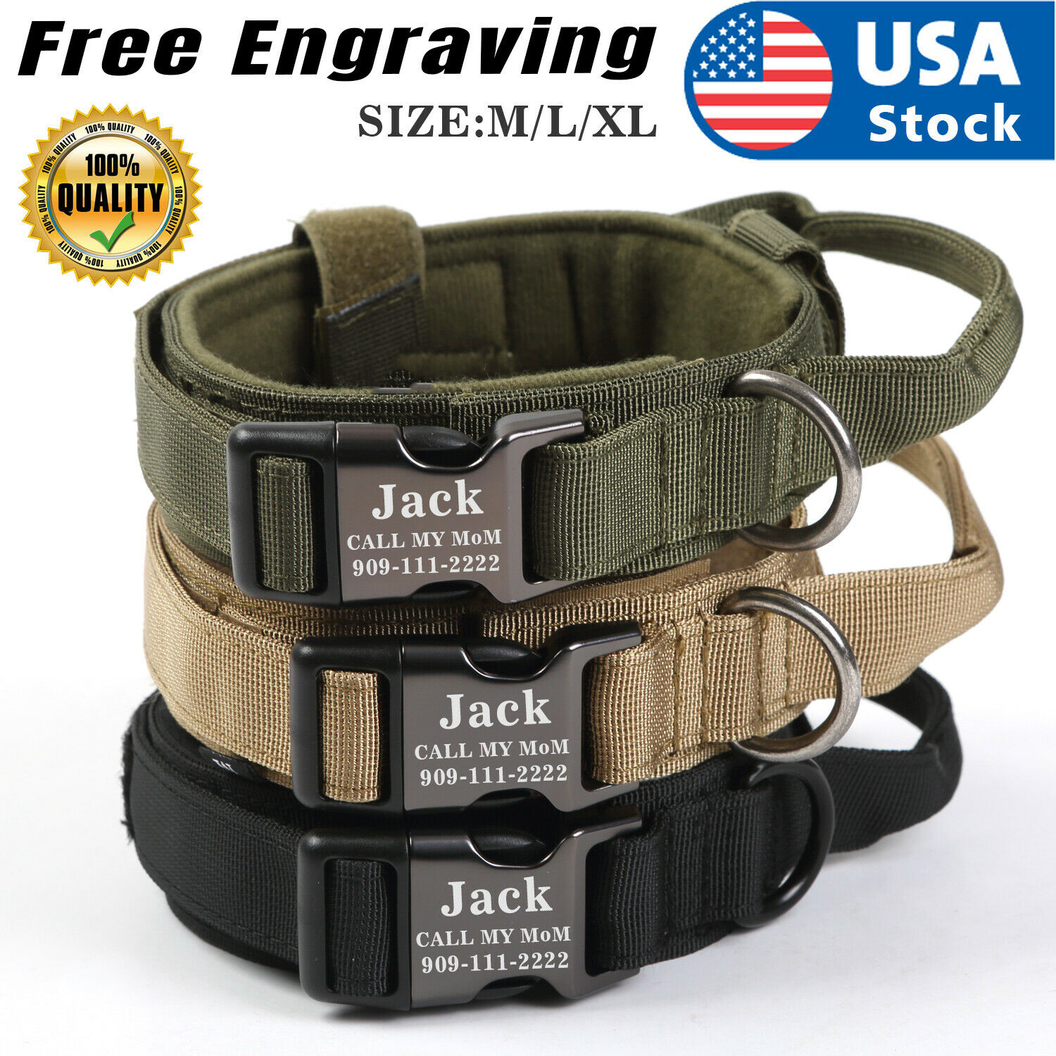 US Heavy DutyTactical Military K9 Dog Training Collar with Metal Buckle Tag Name Collars