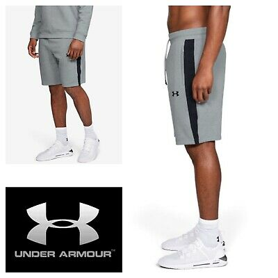 Under Armour Mens Jog Shorts Grey Black Sweat Pant Gym Long Short Size S-XL NEW