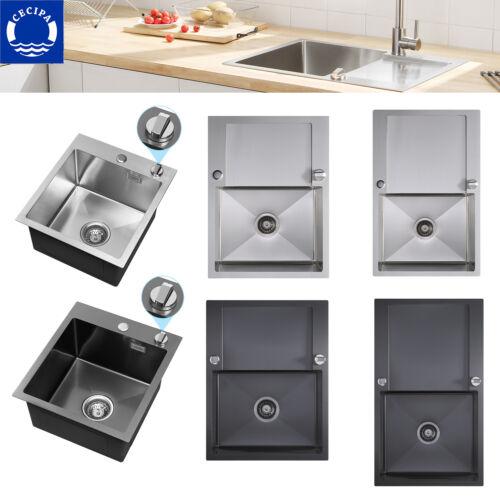 Edelstahl Küchenspüle Einbauspüle Eckig Spülbecken mit Ablauffernbedienung DHL