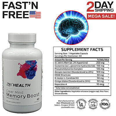 Brain Booster Nootropic Supplement Memory Pills Focus Concentration Mind -