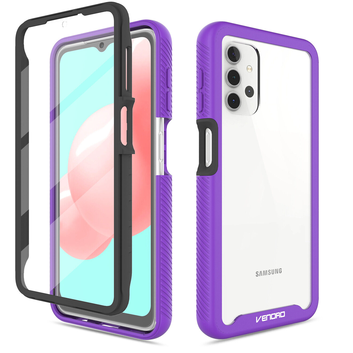 For Samsung Galaxy A32 5G Clear Case Hybrid Cover With Built-in Screen Protector Cases, Covers & Skins