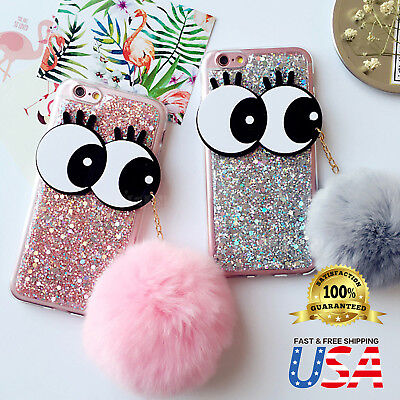 - Bling Glitter Stars Big eyes Soft Furry Fur Ball Case Cover Fits Apple iPhone