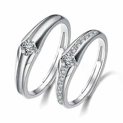 925 Solid Sterling Silver Classical Design  Promise Adjustable Open Couple Rings Fashion Jewelry