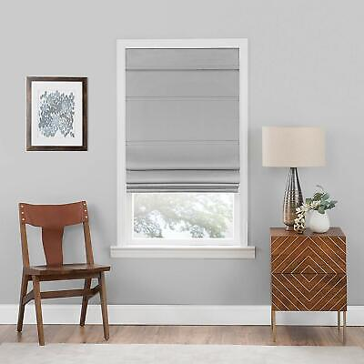 Blackout Cordless Retractable Solid Gray Window Roman Shades