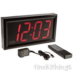 Big Wall Mount LED Clock Digital Display School Home Industrial w Remote Control