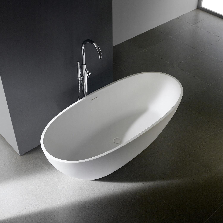 Freistehende Badewanne Standbadewanne Mineralguß Mineralguss Oval Weiß Matt 170