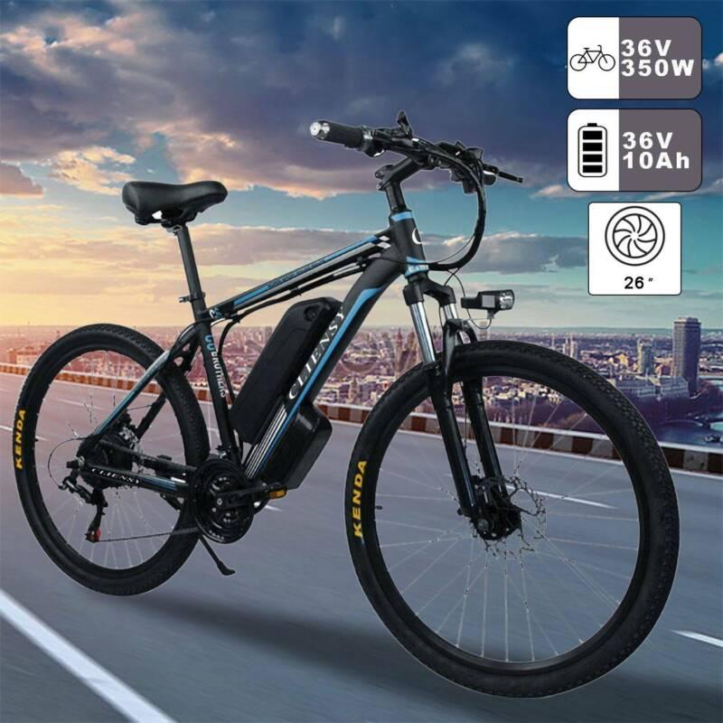 26'' Electric Mountain Bike Bicycle 350W 36V Shimano 21 Spee