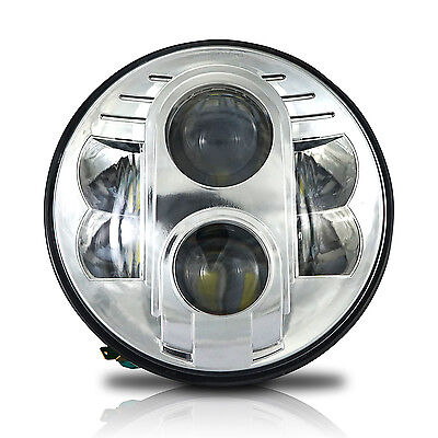 "7"" Motorcycle Chrome Projector 80W HID LED Light Bulb Headlight For Harley"