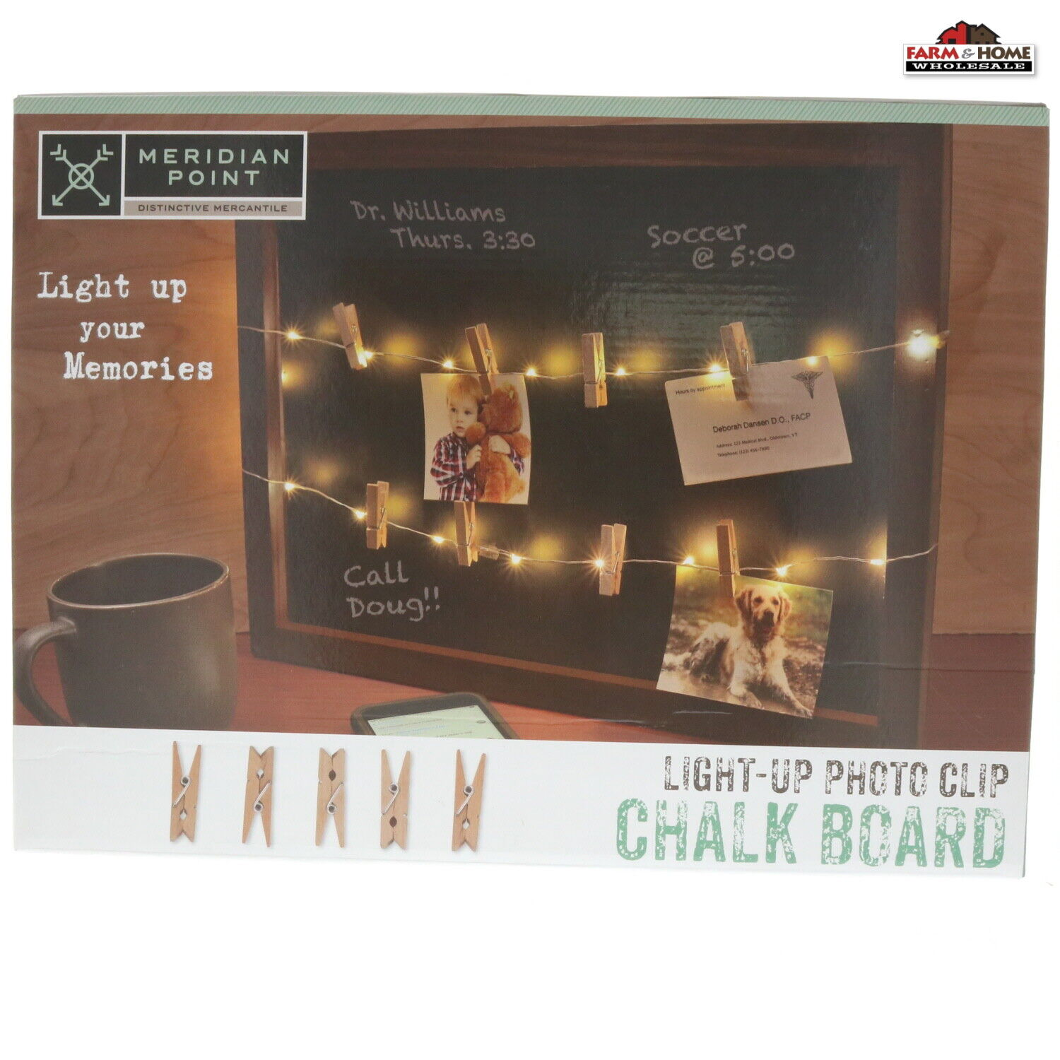 LED Light Up Photo Clip Wooden Chalk Board ~ New