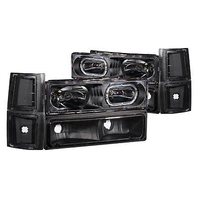 For Chevy Tahoe 95-99 Headlights Black Halo Euro Headlights w Turn