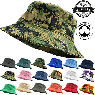 Unisex 100% Cotton Camo Bucket Hat Fishing Camping Safari Boonie Sun Summer ](Camo Bucket Hats)