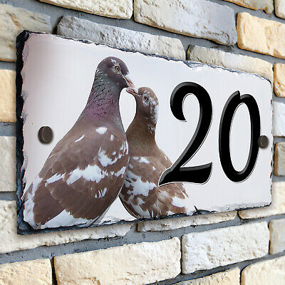 Pigeon House Number Slate Name Sign Plaque Door Personalised Gift SL46