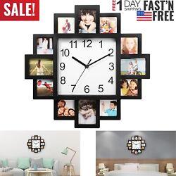 Wall Clock Photo Frame Clock Art 12 Pictures Clock Home Decor Modern Design - US