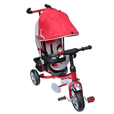 Dreirad Lenkstange mit Dach Kinder 2-5 Jahre Fahrrad rot metallic