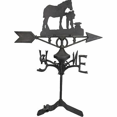 Horse / Mare Farrier Weather Vane Vain Ridge Mount House Roof Cast Iron Shoe