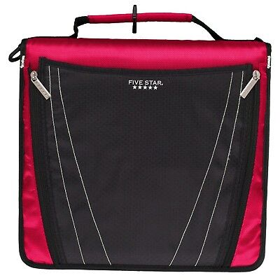 Five Star 2 Inch Zipper Binder Expanding Pocket Durable Red 73299