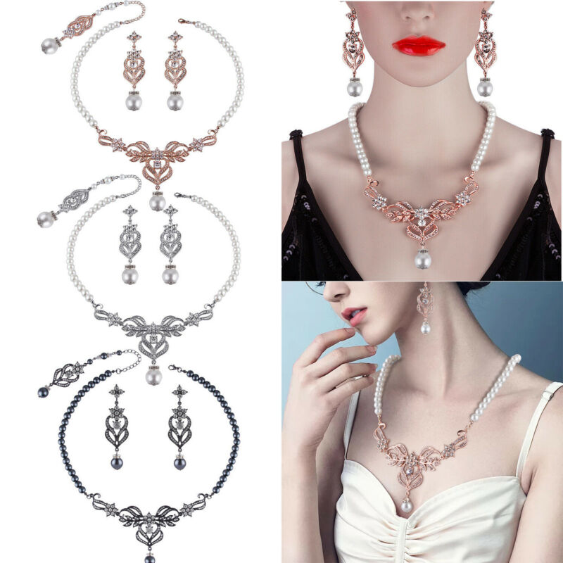 Women Bridal Necklace Earring Set Wedding Delicate Pearls Crystal Jewelry Set