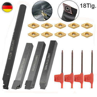 4stk 12x12mm Drehstahl Drehmeißel Hartmetall Bohrstange Set Mit 10x Wendeplatten