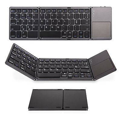 Folding Bluetooth Keyboard for Apple iPad, iPhone, Android devices and Windows usato  Spedire a Italy